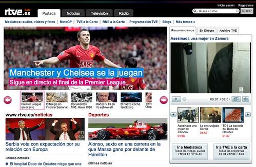 Captura de pantalla de un detalle del rediseño de la web de Radio Televisión Española