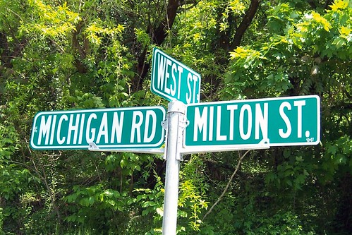 First Michigan Road sign