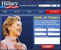 Web y lista de email de Hillary