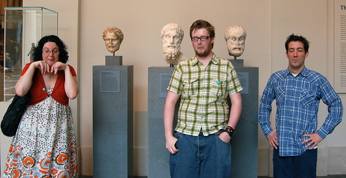 Marianne, Liam, and Brian as Beard-y Bodyless Statues