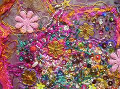 Detail Let them talk 3 (Karen Cattoire) Tags: original art colorful handmade embroidery originalart creation fabric fiberart beading textileart tissu abstrait textiledart karencattoire fibretextile arttexilte