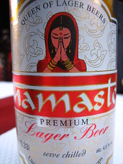 Indian (Ladybadtiming) Tags: red beer girl bottle drink label indian tag fresh queen exotic font cheers foreign namaste colourfull