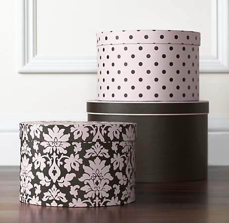 damask hat boxes