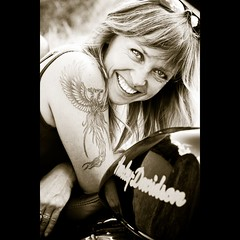 My Joy [Odile 16] (Christine Lebrasseur) Tags: portrait people woman france art smile sepia canon harleydavidson tatoo odile allrightsreservedchristinelebrasseur