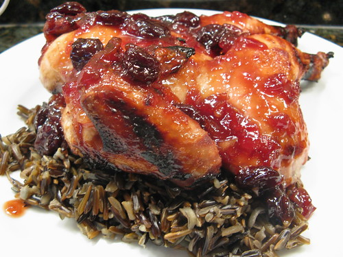 Sweet & Spicy Game Hens over Wild Rice