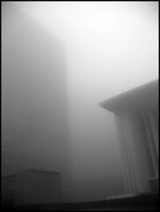 where are they? (sulamith.sallmann) Tags: bw building fog architecture weird nebel gray foggy grau spooky mysterious architektur sw gebude luxemburg trist xyz nebelig unheimlich sulamithsallmann pa0