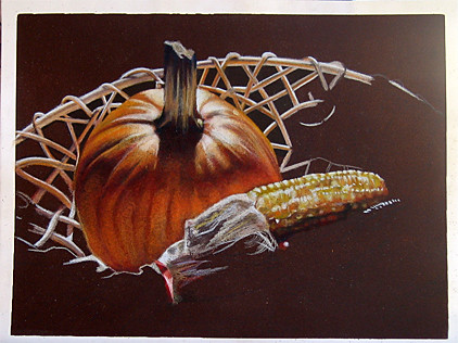 In progress photo of colored pencil drawing entitled Autumn Still Life