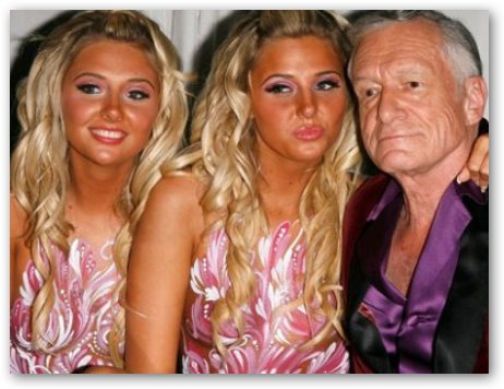 Karissa and Kristina Shannon with Hugh Hefner