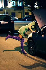 Girl and broken car 1 (dyadyavasya) Tags: street city house broken girl car night evening dress clothes   breakage      cowl
