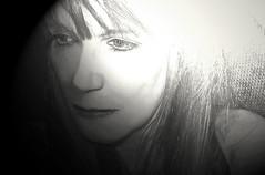 I wake to sleep (goldsardine) Tags: portrait blackandwhite bw woman selfportrait face autoportrait quote sony highcontrast grainy