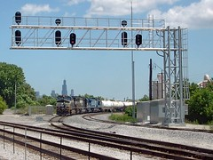 Norfolk Southern transfer train waiting on a hold order. Cragin Junction. Chicago Illinois. June 2007.