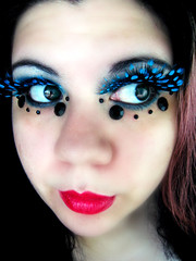 Polka dotted (Lady Pandacat) Tags: blue red wild portrait black self ojo crazy mac colorful lashes bright teal feather makeup lips mexican polkadots hispanic latina carbon 2008 electriceel whitefrost falsies fantabulous catchycolorsblue pandacat 365daysreject canona570is fantasymakeup pandacatbaby tinaangel imsoinlovewiththeselashesrightnow ifeel365daysreject ifeellikeadragqueenandilikeit yeahiknowimpale ladypandacatvonnopants