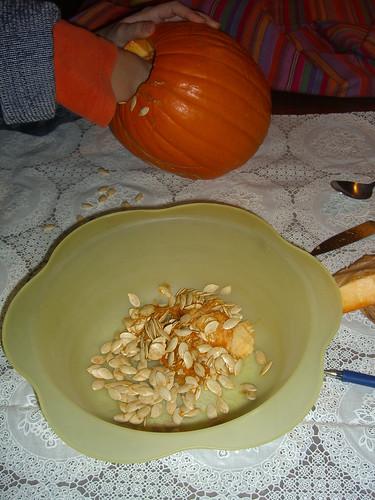 Emptying the pumpkin