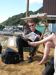 Martin Parr on Ventnor beach (iainaitch) Tags: beach deckchair legs isleofwight burberry martinparr englishness schooloflife fauxburberry ventor britishness