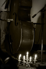 Double-bass with Candlestick (Jooliree) Tags: light france sepia mono stand candles microphone apsara candlestick laforge doublebass lightatnight week17 7daysofshooting crevant monomonday aubergedechênevert