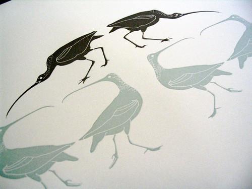 birds letterpressed