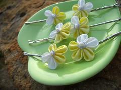 Buttercup Pins (Bright Wish Kanzashi) Tags: flower handmade weddings hairpiece  accessory kanzashi  tsumamikanzashi hanatsukuri