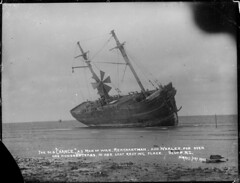 Sailing ship Chance, aground at Bluff, 1902 (National Library NZ on The Commons) Tags: newzealand ship shipwreck anchor aground whaler windturbine bluff sailingship manofwar 1902  merchantman   nationallibrarynz chanceship commons:event=commonground2009