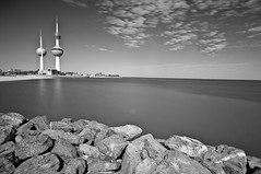 Kuwait Towers (Fahad Al Nusf) Tags: sea blackandwhite white black beach me rock digital landscape blackwhite nikon asia gulf wide middleeast sigma ku arab land kuwait 1020mm 1020 fahad kw arabiangulf q8 essam d300 sigma1020mm kwt alnusif kuwaittowers   sigma1020 kuwaittower  wideanlge nikond300 fenyn fahadalnusf alnusf   nusef nusif alnusef fahadessamalnusf essamalnusf alnisef alnisf nisf nisef