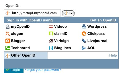 OpenID Login widgets