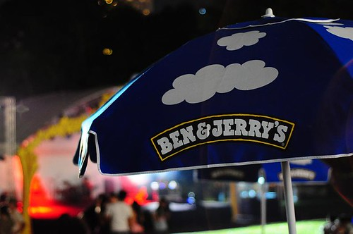 Fluffy white clouds on the Ben & Jerry's brolly