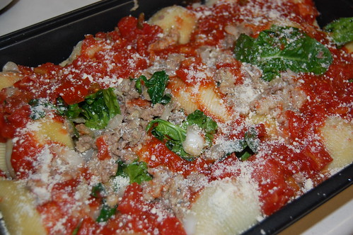 Stuffed Shells Ready to Go in the Oven