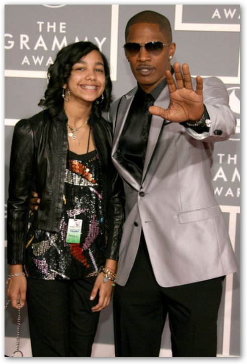 Corrine Foxx & Dad at Grammy's