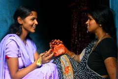 henna (LindsayStark) Tags: travel blue woman women varanasi henna hindu benares southasia uttarpradesh