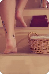 Good Night & Good Luck - Day 343 (citruskapsel) Tags: people woman signs feet me tattoo female stairs writing canon bedroom legs skin chinese day343 365days 366days eos400d 365nudes