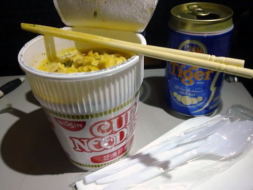 Nissin Cup Noodles and Tiger Beer