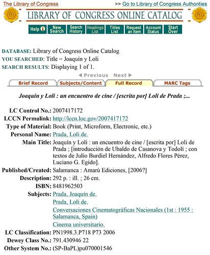 El libro de Joaquín y Loli en la Librería del Congreso