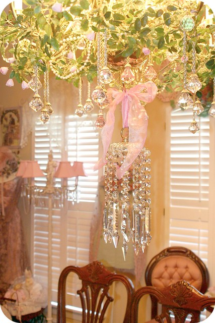 lighting pink roses crystals room victorian chandelier romantic ribbon elegant shabbychic frufrudining