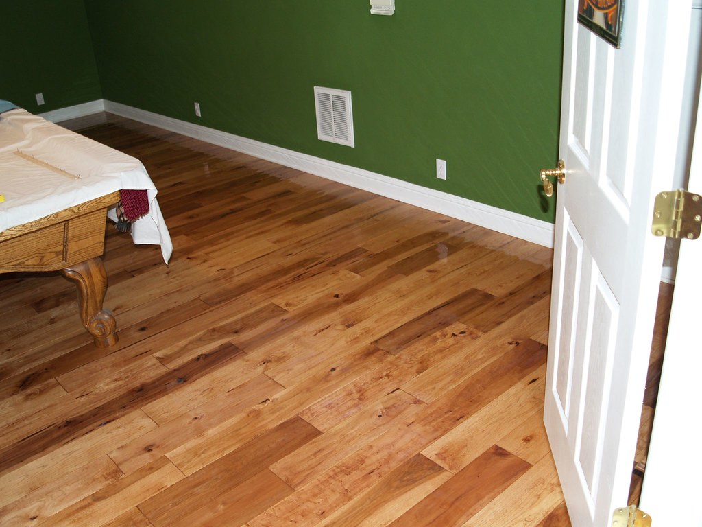 solid hand scraped hickory flooring