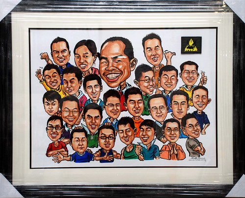 Group caricatures G2 Army colour framed