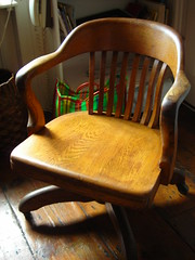 oak office chair (omoo) Tags: wood newyorkcity houses interiors rooms apartments westvillage antiques armchair collectibles furnishings greenwichvillage residences oakofficechaironwheels bankerschair