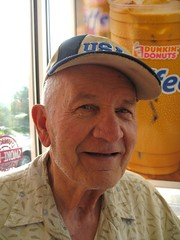 Lloyd (Clark Westfield) Tags: morning people usa man coffee smile face hat smiling person newjersey nj elderly lloyd 36 retired oceancounty retirement dunkindonuts olderman seniorcitizen goldenyears tomsriver 100strangers 36100