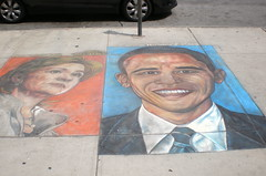 Politics on the Sidewalk! (msnyc111) Tags: nyc party usa art face painting chalk election mural artist faces drawing manhattan clinton united president broadway presidential sidewalk hillary candidate states draw 2008 obama democratic hani barack