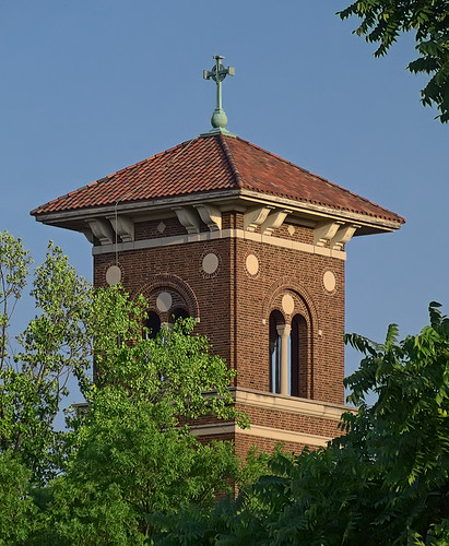 Immaculate Conception Roman Catholic Church, in Maplewood, Missouri, USA - tower detail