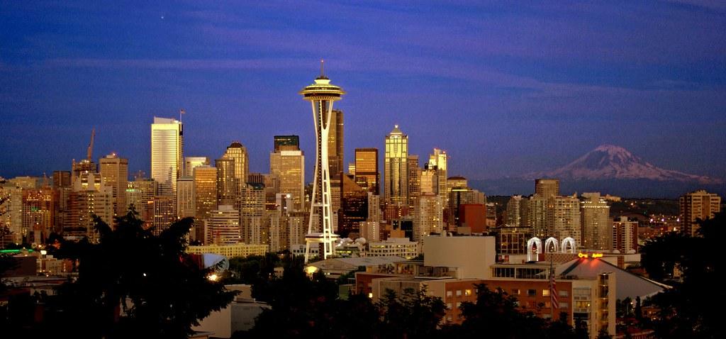 Seattle Center Dusk + Mt. Rainier