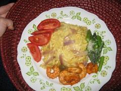 Käse spätzle with Shrimp & Veggies