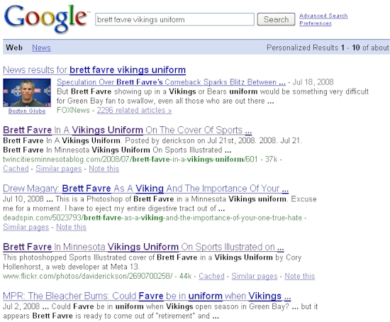 """Brett Favre Vikings Uniform"" Google Search Results - 07/23/08"