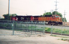 Eastbound BNSF transfer train departing Clearing Yard. Chicago Illinois. May 2006.