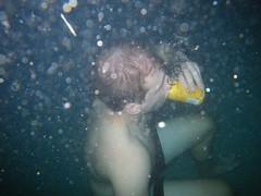 underwater beer drinking