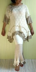 Cream & Tan 2 pc Dress (brendaabdullah) Tags: fashion designer recycled handmade ooak indie deconstruction reconstruction recycledsweaters brendaabdullah