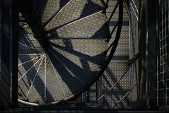 Spiral staircase (Markus Moning) Tags: shadow tower metal stairs spiral schweiz switzerland stair shadows suisse swiss case treppe staircase turm metall canoneos350d treppen moning winterthur wendeltreppe eschenberg markusmoning eschenbergturm