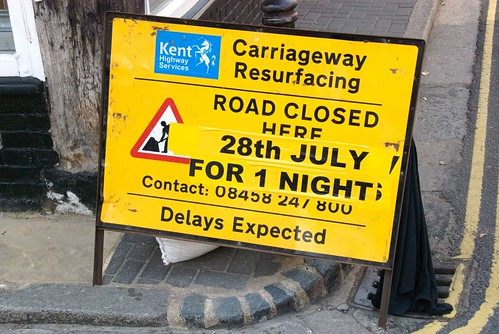 The art of English understatement. Road closed and delays expected.