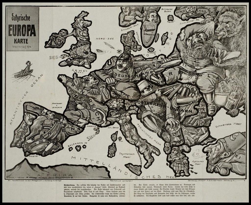 Satyrische Europa Karte 1914