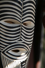 African Mask (indigo2brown) Tags: mask wood wooden black white face eyes mouth africa livingstone zambia