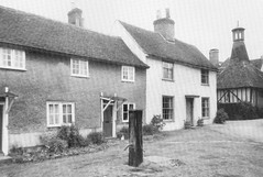 Writtle. The village pump attendant cottages and the Oast House c1905 (Stuart Axe) Tags: city uk greatbritain england blackandwhite bw history town unitedkingdom postcard scan historic scanned gb beforeandafter oldphotograph essex edwardian thenandnow chelmsford oasthouse writtle countytown writtlegreen countyofessex unlimitedphotos cityofchelmsford