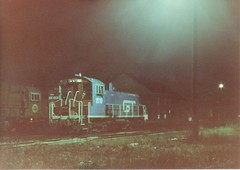 The Grand Trunk Western RR Elsdon Yaed locomotive terminal at night. ( Gone.) Chicago Illinois. April 1983.